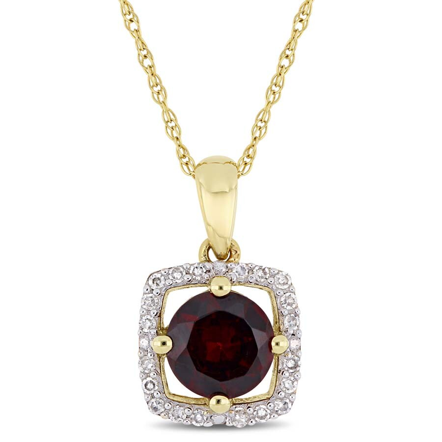 Amour 1 CT TGW Garnet and 1/10 CT TW Diamond Halo Square Drop Pendant with C..