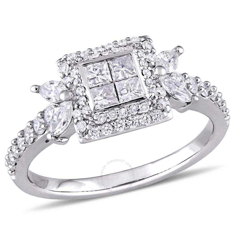 Amour 1 CT TW Princess-cut Diamond Quad Halo 14K White Gold Engagement Ring