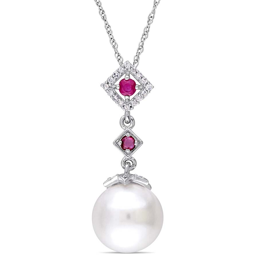 Amour 10 - 10.5 MM Cultured Freshwater Pearl and 1/10 CT TW Diamond and Ruby..