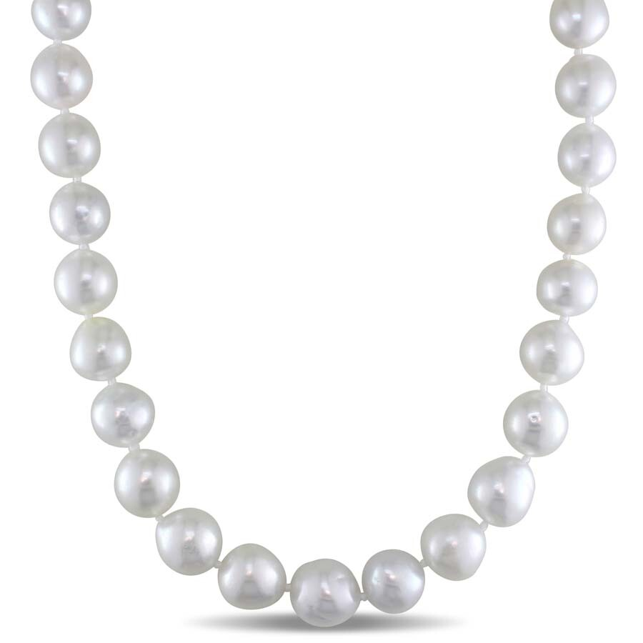 Amour 10-12 MM Semi-Round White South Sea Pearl Strand Necklace with 14k Yel..
