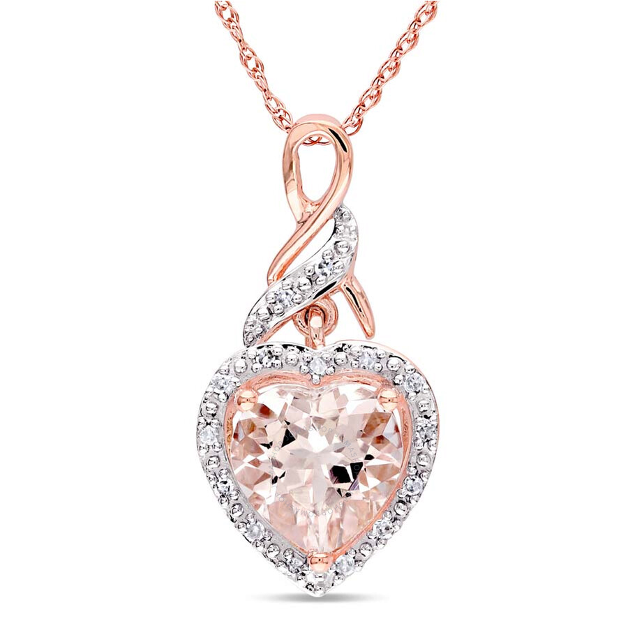 Amour 10K Pink Gold Morganite and Diamond Necklace JMS002679