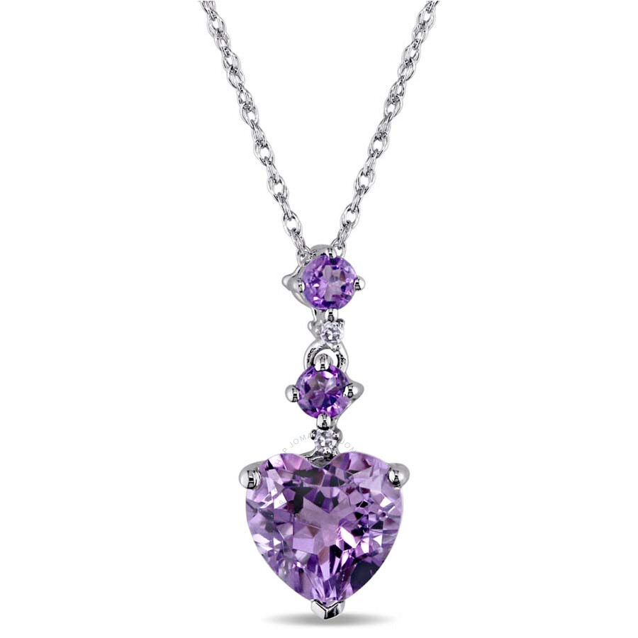 Amour 10K White Gold Amethyst and Diamond Necklace JMS002674