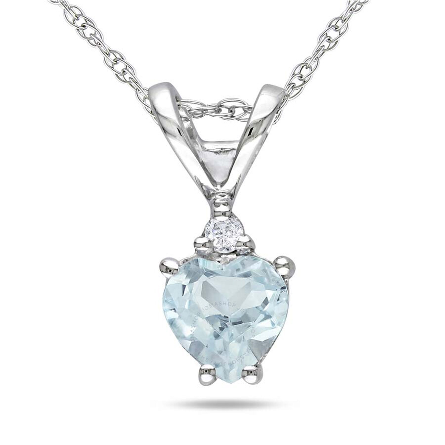 Amour 10K White Gold Aquamarine and Diamond Necklace JMS002677