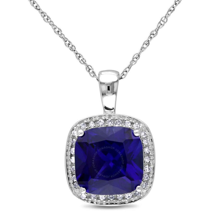 Amour 10K White Gold Blue 3 4/5 CT. Sapphire Cushion Pendant