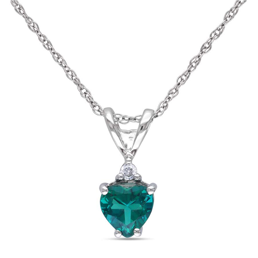 Amour 10K White Gold Emerald and Diamond Necklace JMS002678