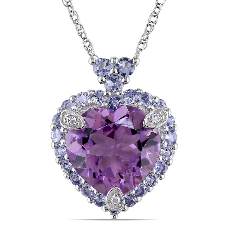 Amour 10K White Gold Multi Precious Stone Heart Pendant