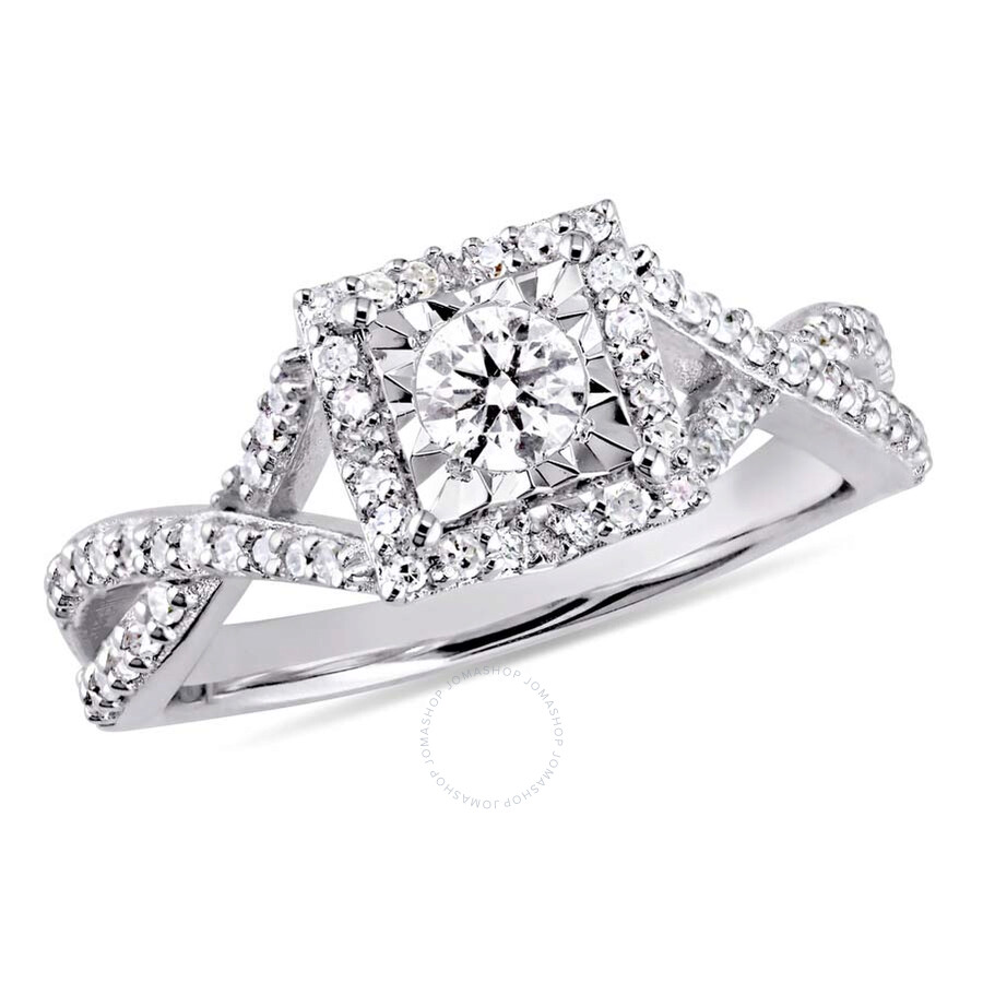 Amour 1/2 CT TW Diamond Halo Crossover Sterling Silver Engagement Ring