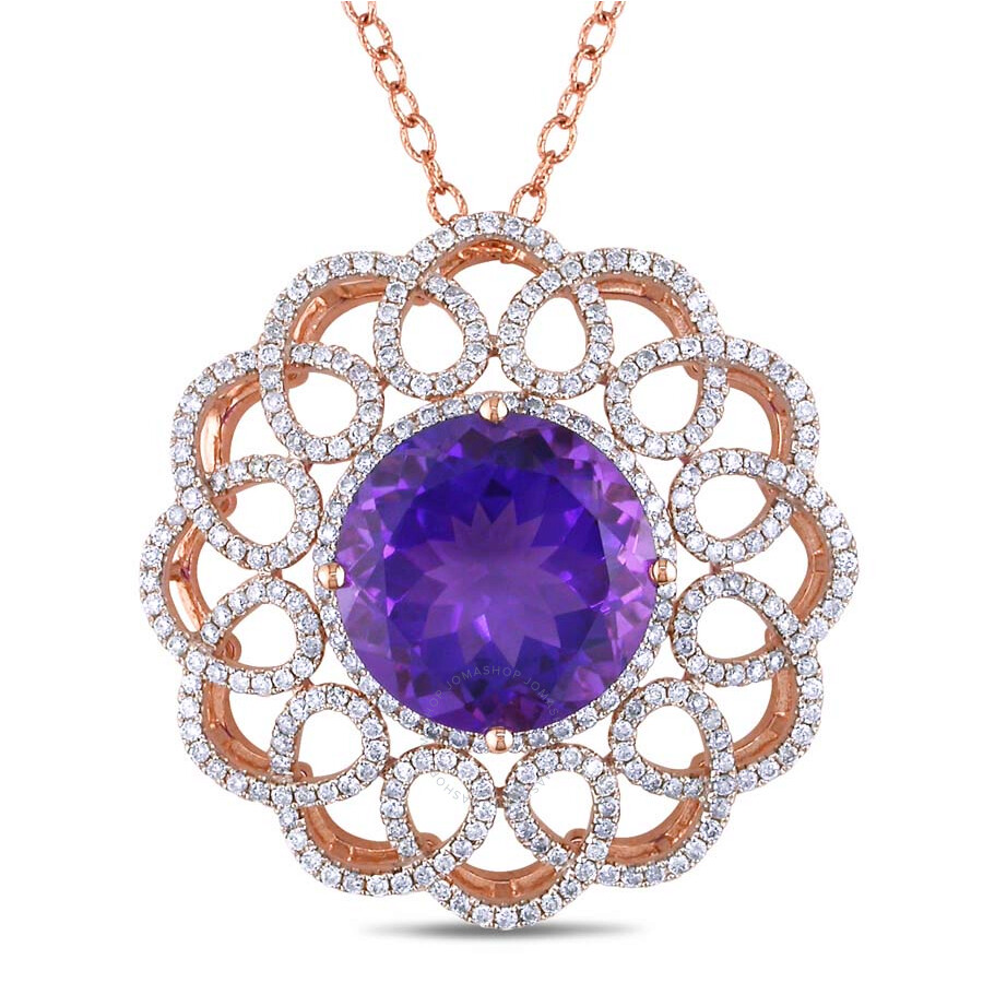Amour 13 4/5 African Amethyst and 1 3/4 CT TW Diamond Pendant with Chain in 14k Rose Gold