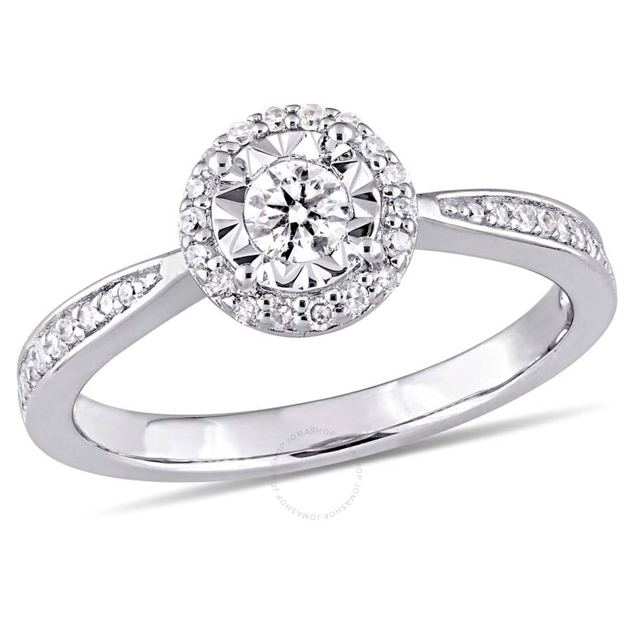 Amour 1/3 CT TW Diamond Halo Ring in Sterling Silver
