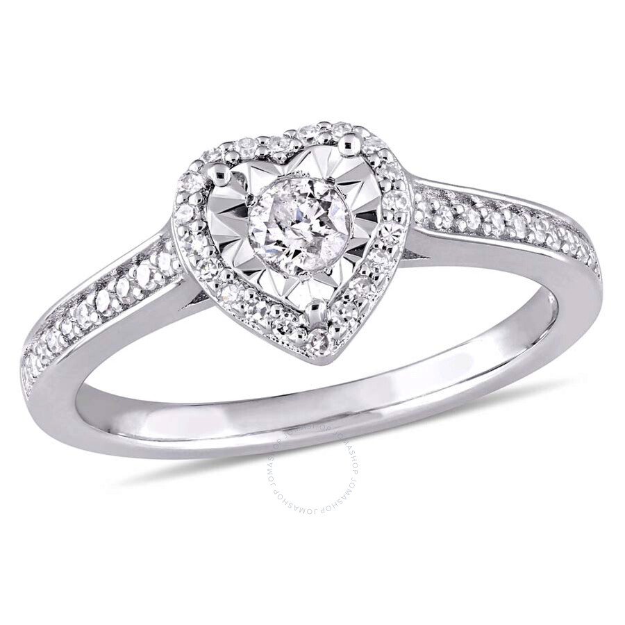 Amour 1/3 CT TW Diamond Heart Ring in Sterling Silver