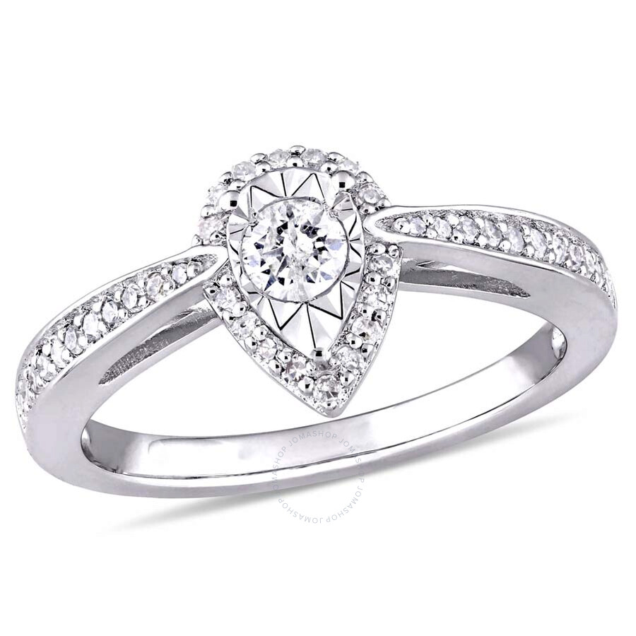 Amour 1/3 CT TW Diamond Teardrop Halo Ring in Sterling Silver