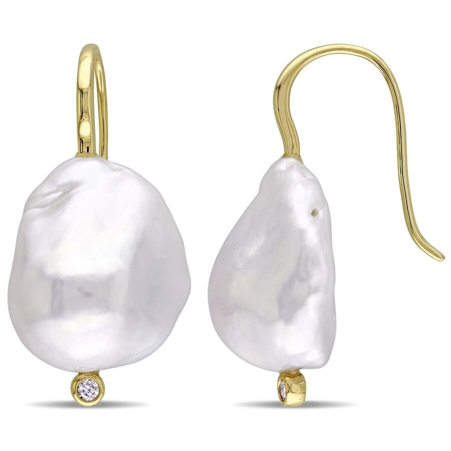 Amour 14-14.5 MM Cultured Freshwater Baroque Pearl and Diamond Hook Earrings..