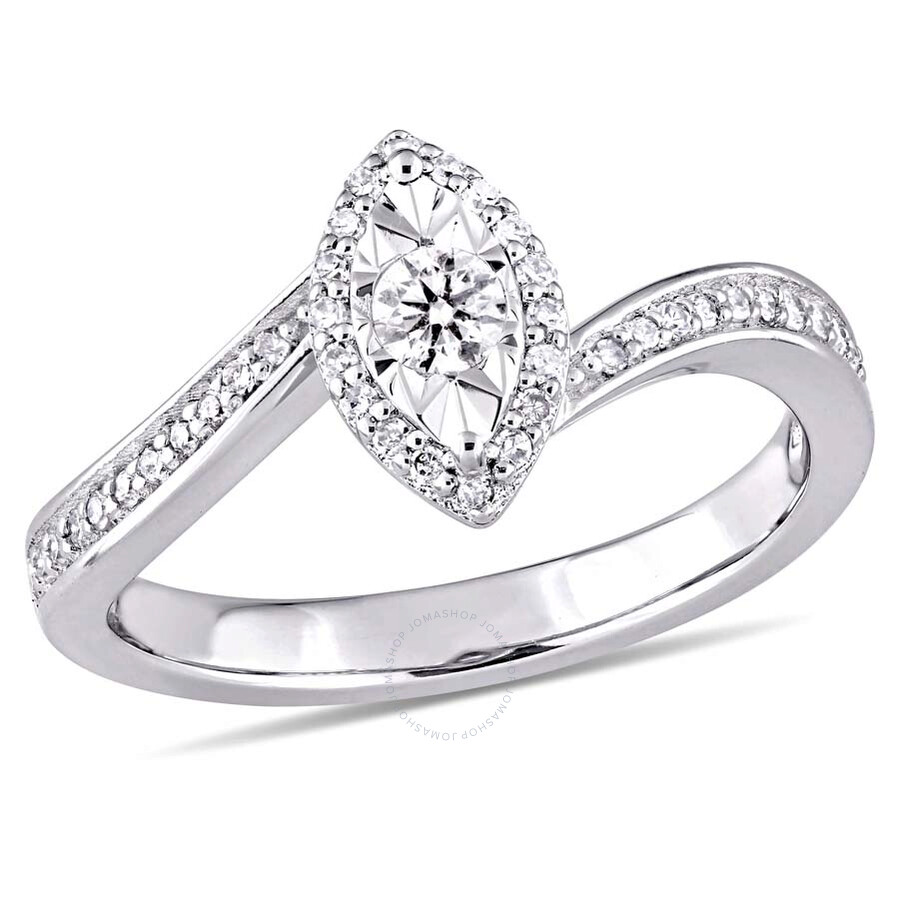Amour 1/4 CT TW Diamond Halo Twist Ring in Sterling Silver