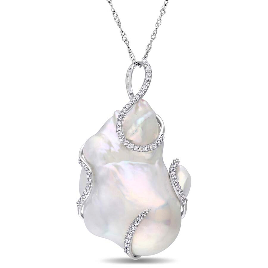 Amour 14K White Gold 20.5 MM Abstract Pearl and 1/3 CT Diamond Necklace