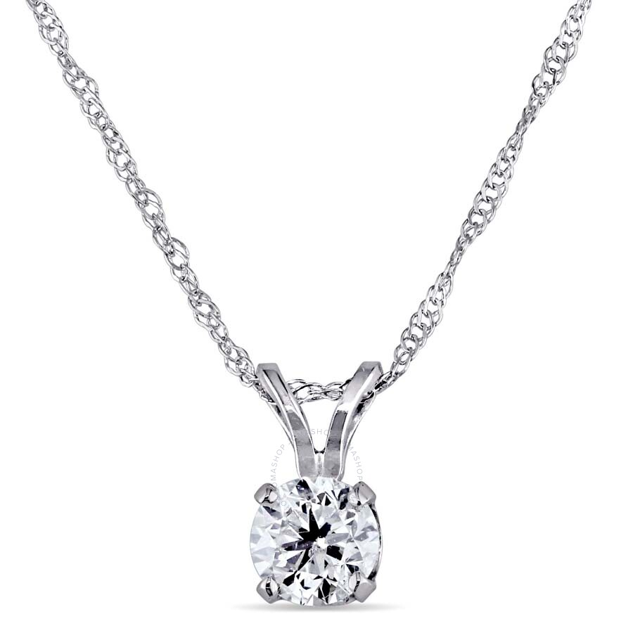 Amour 14KW 1/2ct Diamond Solitaire Pendant w/ 18 inches Fortzentina Chain, I1-I2 750006425