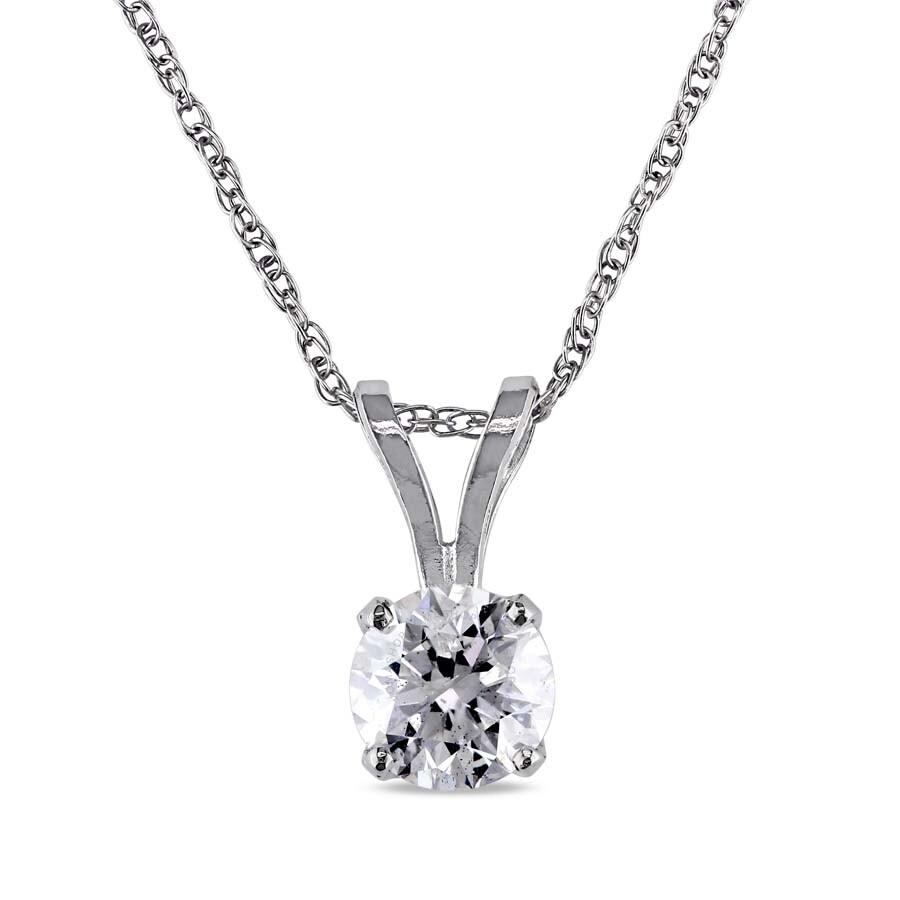 Amour 14KW 1ct Diamond Solitaire Pendant w/ 17 Chain JMS005106