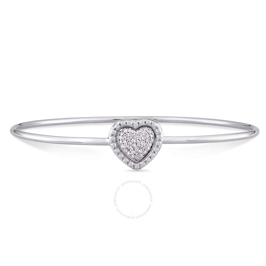 Amour 1/7 CT TW Diamond Heart Bangle in Sterling Silver