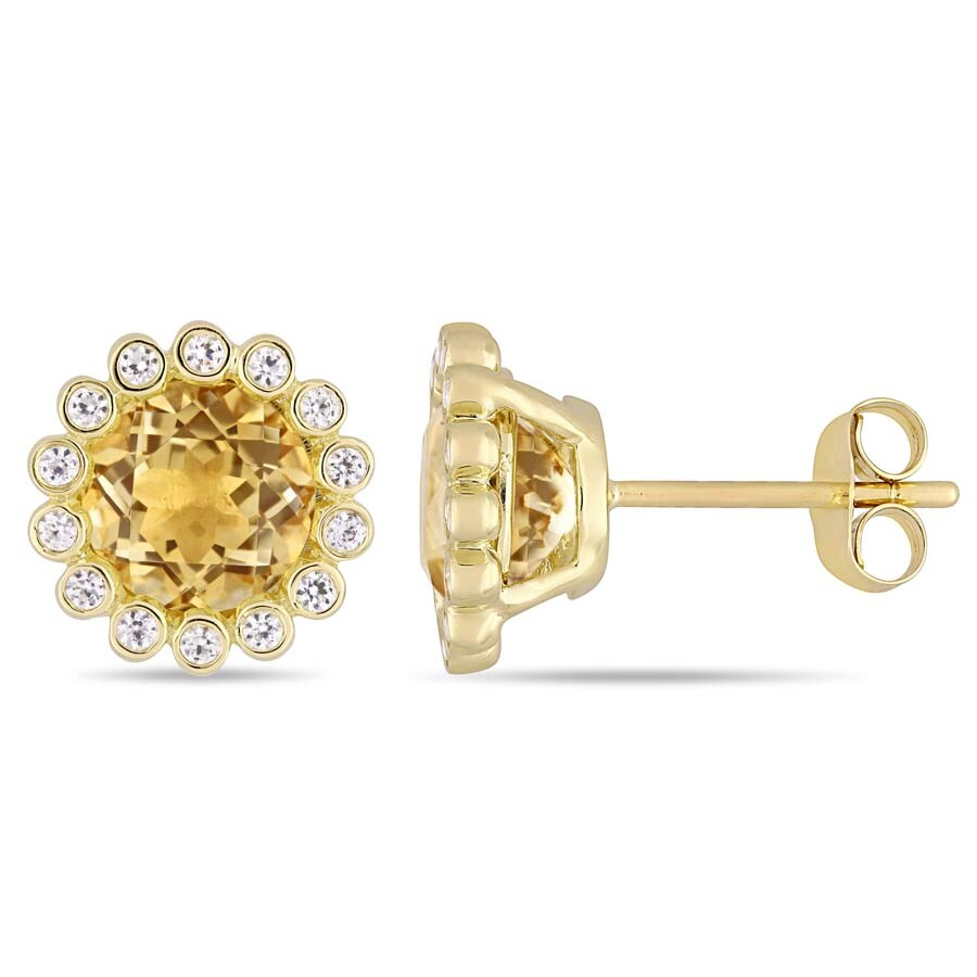 Amour 2 3/4 CT TGW Citrine and White Sapphire Beaded Halo Stud Earrings in 1..