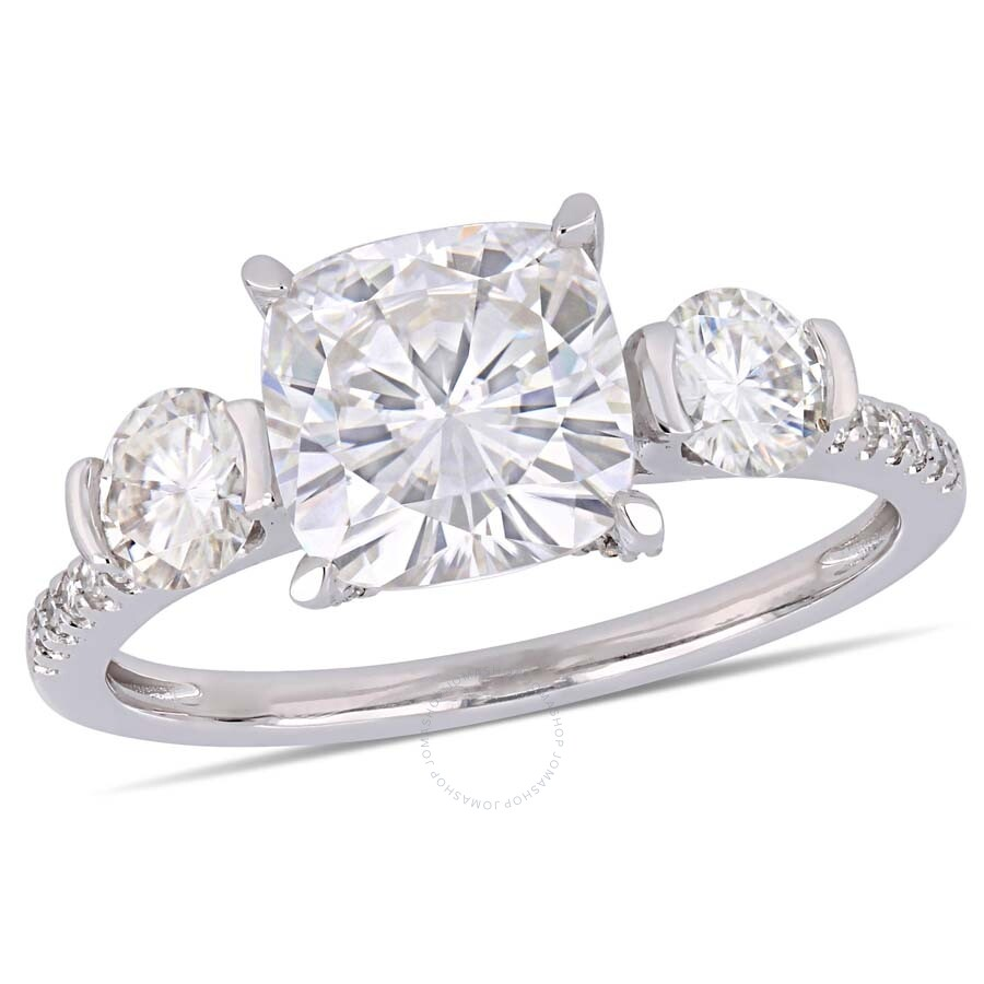 Amour 2 5/8 CT TGW Cushion-Cut Moissanite and 1/6 CT TW Diamond Three-Stone Engagement Rin