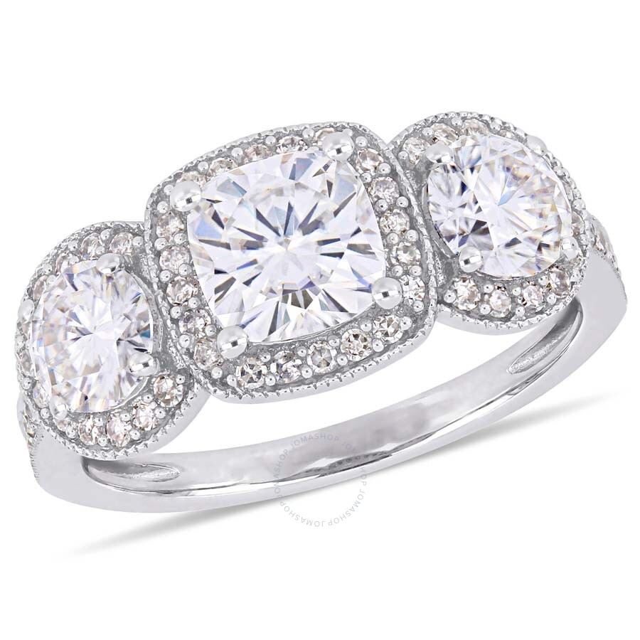Amour 2 CT TGW Cushion-Cut Moissanite and 1/3 CT TW Diamond 3-Stone Double Halo Engagement