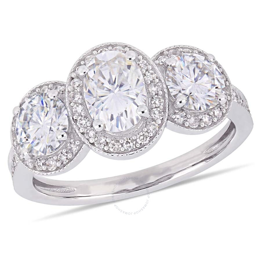 Amour 2 CT TGW Oval and Round-Cut Moissanite and 1/3 CT TW Diamond Three-Sto..