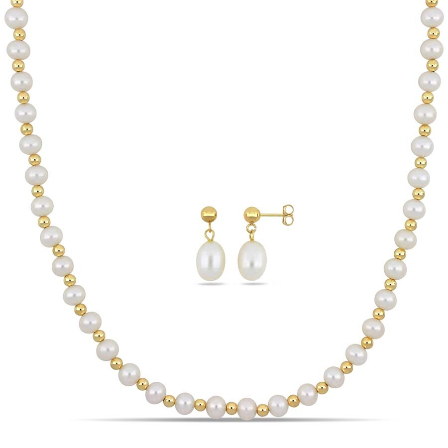 Amour 2-Pc Set of Freshwater Cultured Pearl Strand Necklace with Gold Balls ..