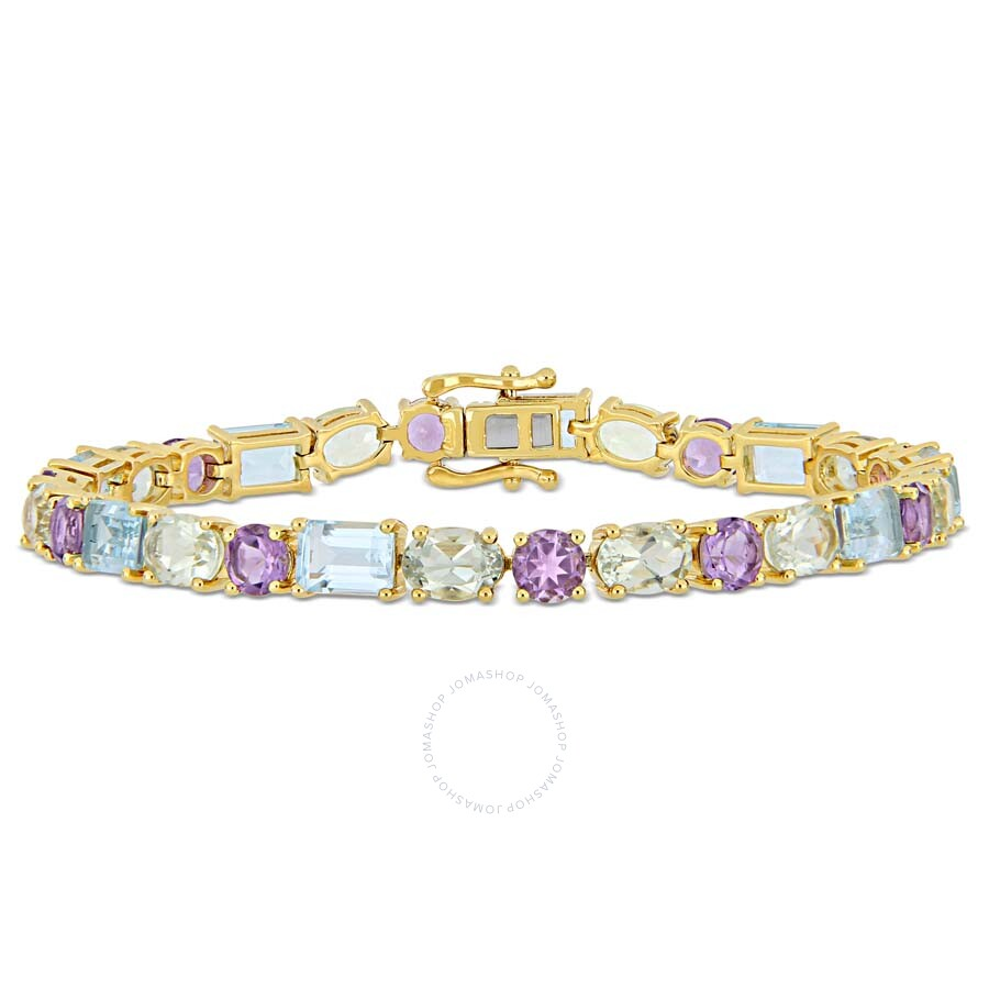 Amour 22 1/10 CT TGW Sky-Blue Topaz Green Amethyst and Amethyst Mosaic Tennis Bracelet in