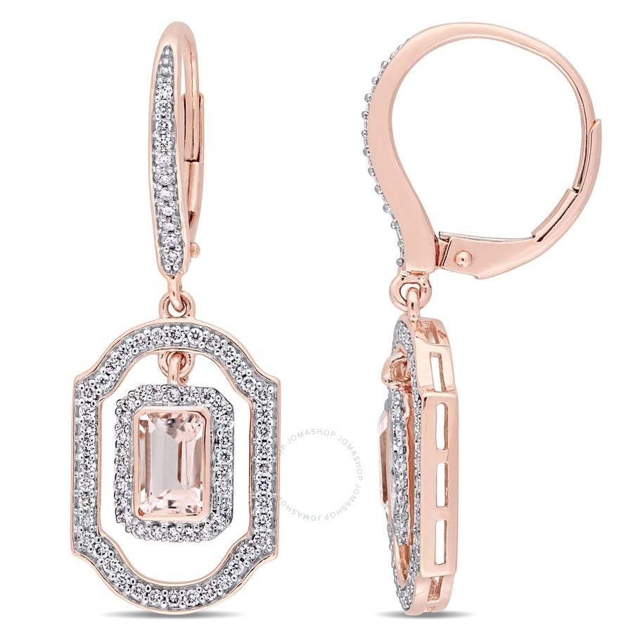 Amour 3/5 CT Diamond TW And 1 1/10 CT TGW Morganite LeverBack Earrings 14k P..