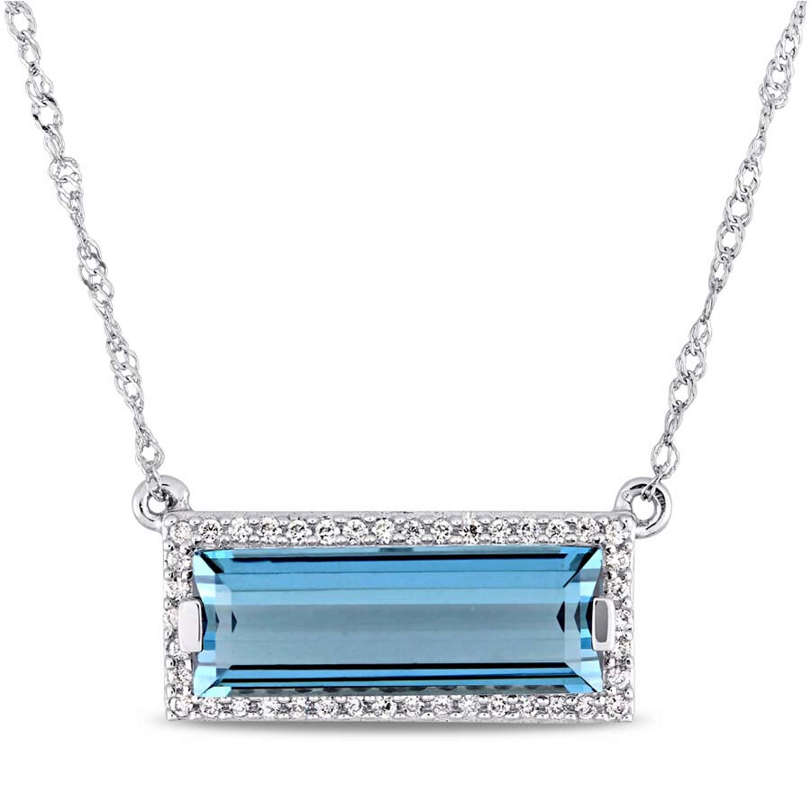 Amour 3 CT TGW Baguette Cut London Blue Topaz Necklace JMS004334