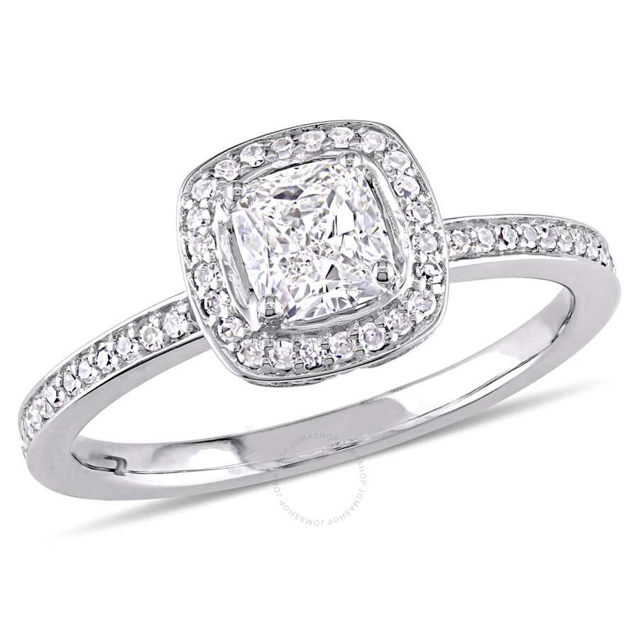 Amour 3/4 CT Cushion & Round Diamonds TW Fashion Ring 14k White Gold