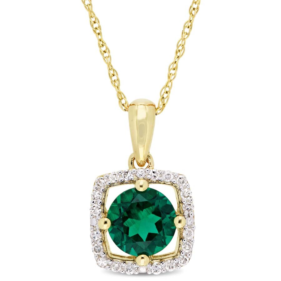 Amour 4/5 CT TGW Created Emerald and 1/10 CT TW Diamond Square Halo Pendant ..