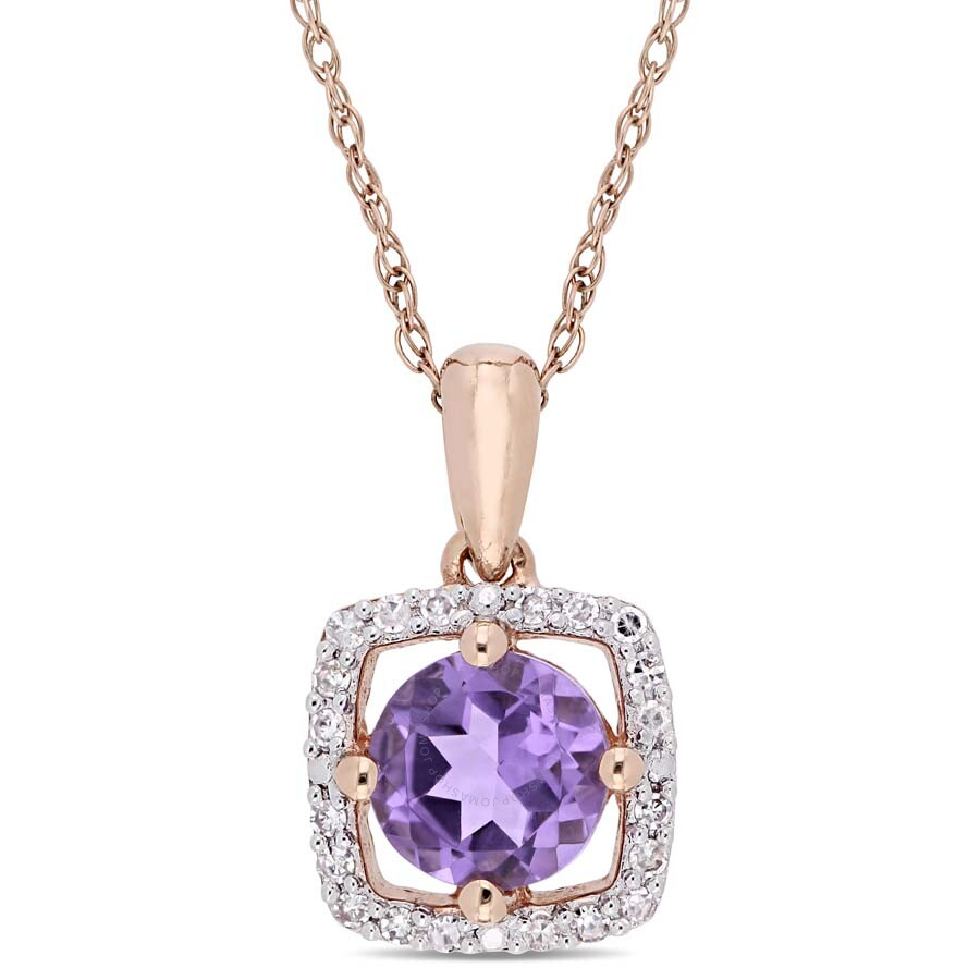 Amour 5/8 CT TGW Amethyst and 1/10 CT TW Diamond Square Halo Pendant with Ch..
