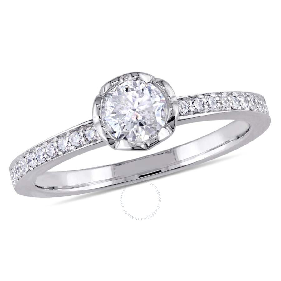 Amour 5/8 CT TW Heart Gallery Diamond Floral 14k White Gold Engagement Ring