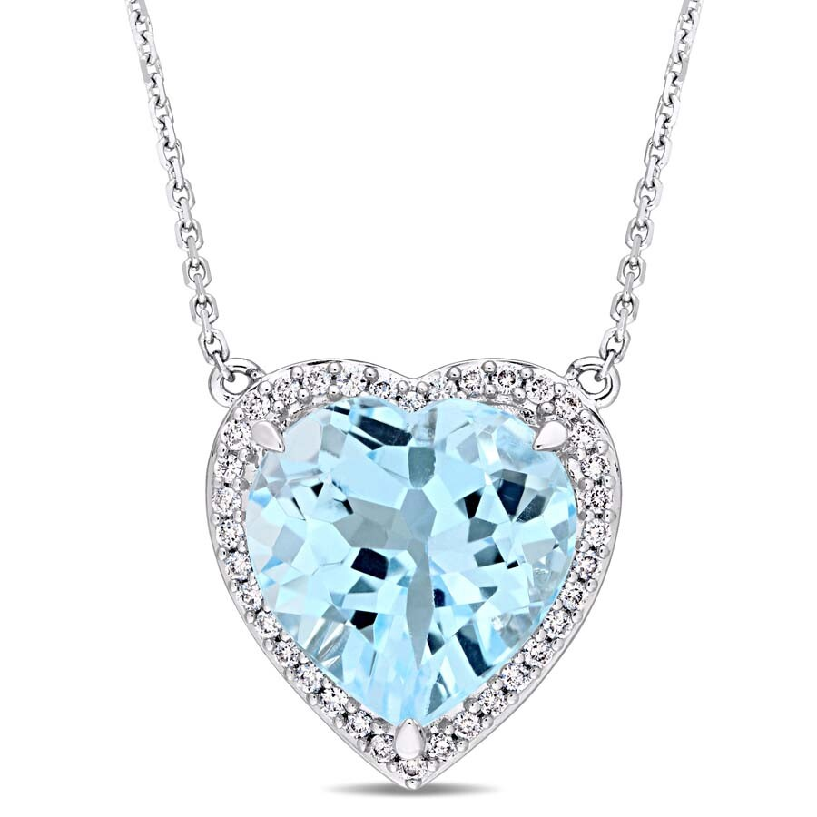 Amour 6 4/5 CT TGW Heart Shaped Blue Topaz and 1/5 CT TW Diamond Halo Pendant with Chain i