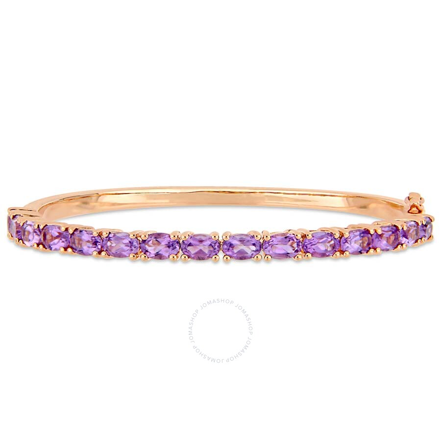 Amour 6 CT TGW Oval-Cut Amethyst Bangle in Rose Plated Sterling Silver JMS00..