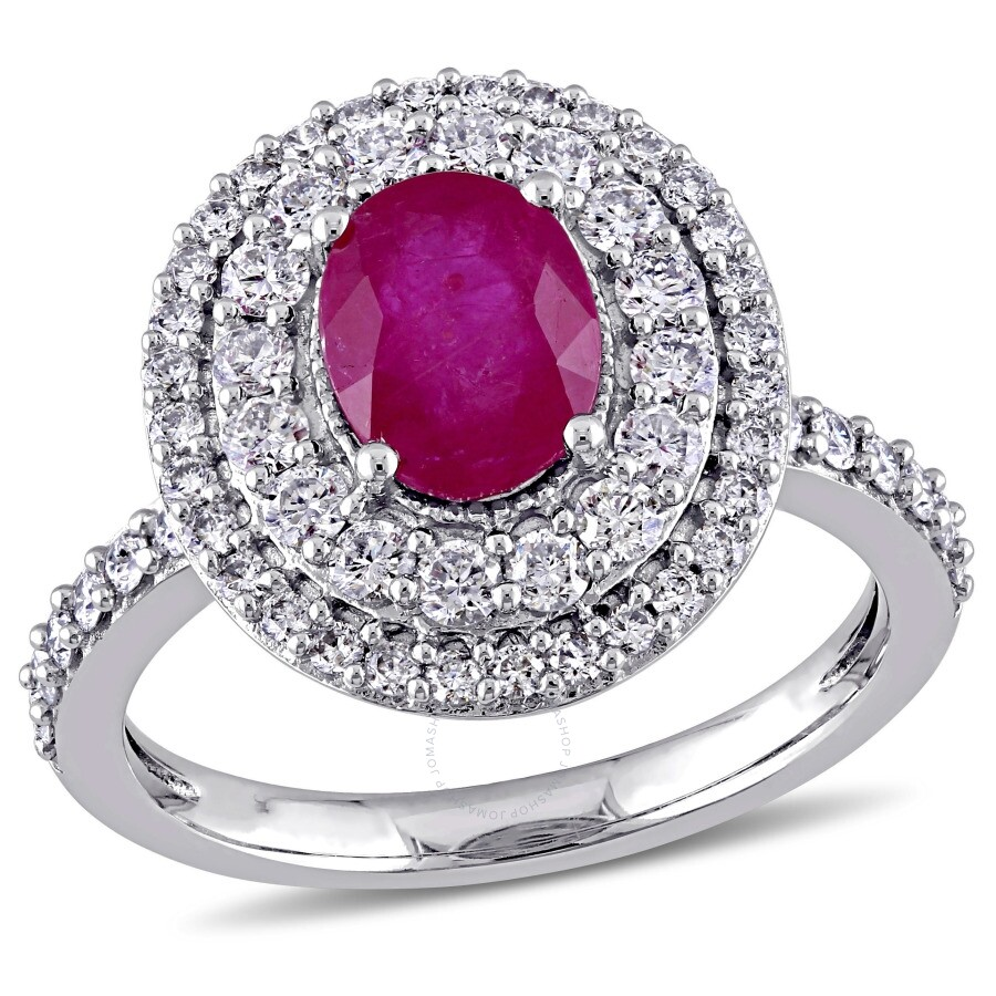 Amour 7/8 CT Diamond TW And 1 1/2 CT TGW Ruby Fashion Ring 14k White Gold GH..