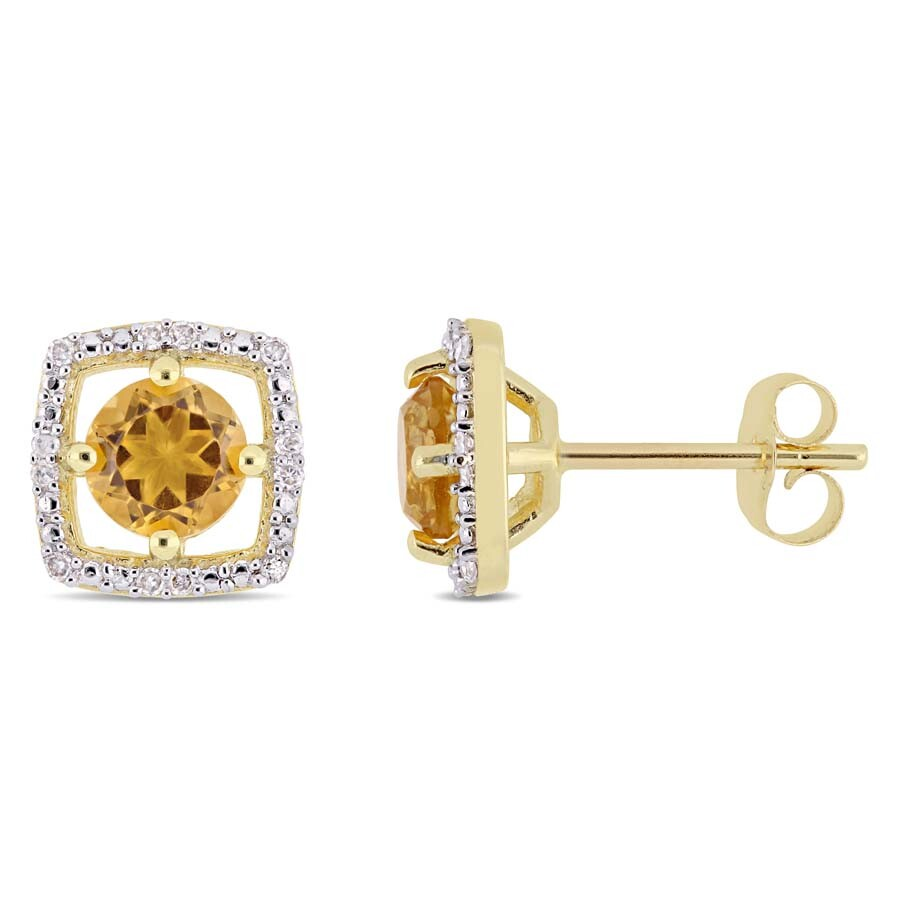 Amour 7/8 CT TGW Citrine and Diamond Halo Square Stud Earrings in 10k Yellow..