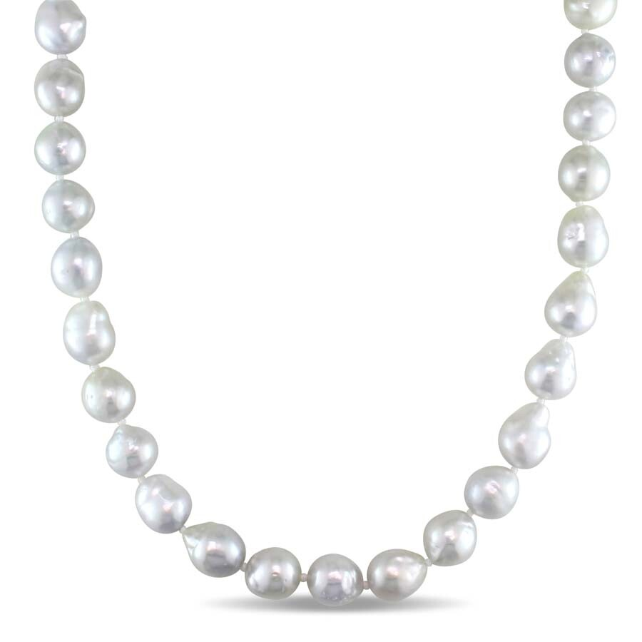 Amour 8-10 MM Natural Shape White South Sea Pearl Strand Necklace with 14k Y..