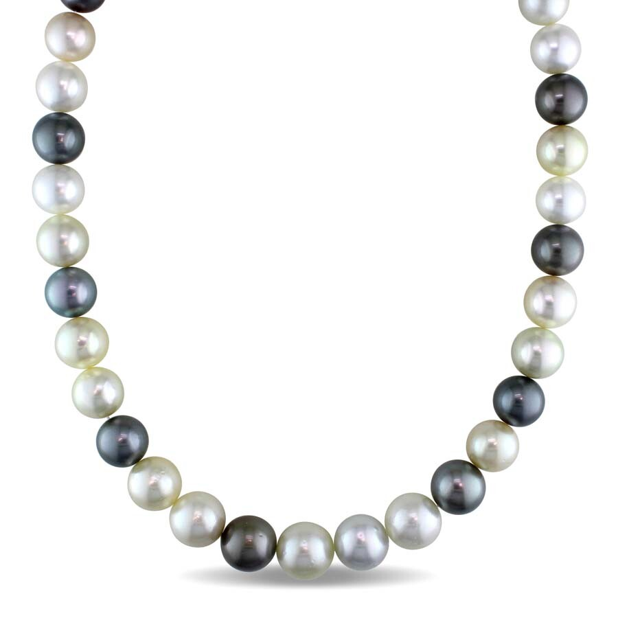 Amour 9-10 MM Multi-Colored South Sea and Tahitian Pearl Strand Necklace wit..