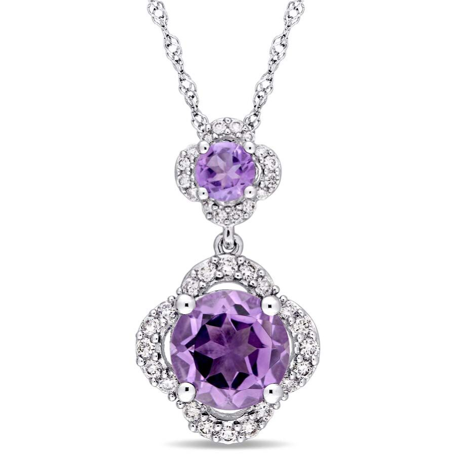 Amour Amethyst and 1/5 CT TW Diamond Quatrefoil Tiered Pendant JMS004269