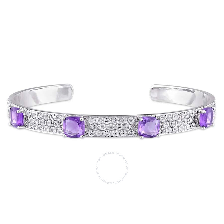 Amour Amethyst and White Sapphire Bangle in Sterling Silver