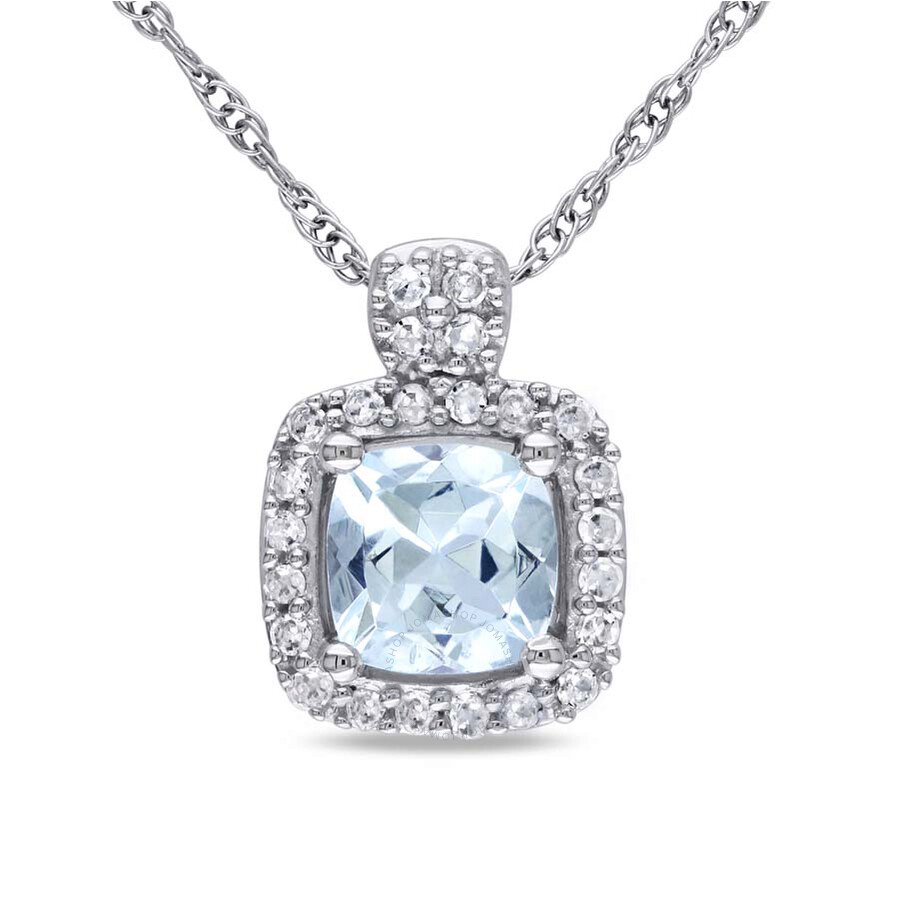 Amour Aquamarine and Diamond Cushion-Cut 10K White Gold Pendant