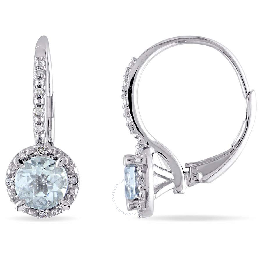 Amour Aquamarine and Diamond Leverback Halo Earrings in Sterling Silver