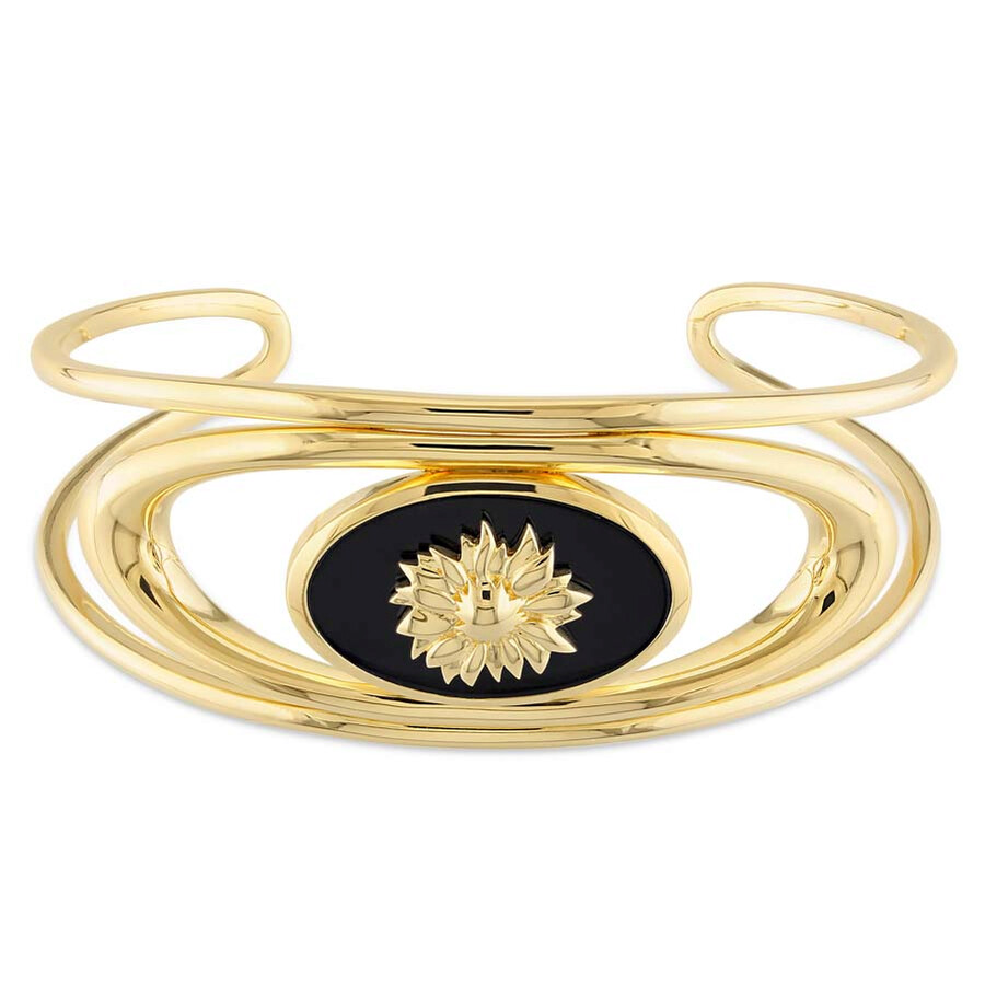 Amour Black Agate Mystique Bangle in 18k Yellow Gold Plated Sterling Silver