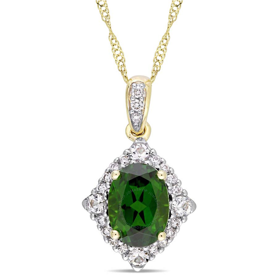 Amour Chrome Diopsideand White Sapphire Necklace JMS004348