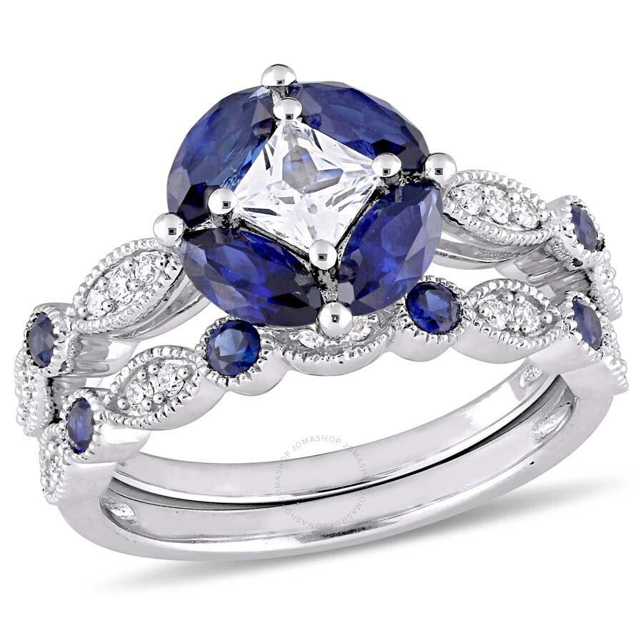 Amour Created Blue and White Sapphire and 1/6 CT TW Diamond Bridal Set in 10..