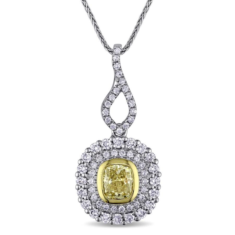 Amour Cushion-Cut Yellow Diamond Pendant JMS005786