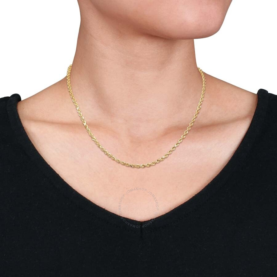 Amour Fashion 18 Inch Rope Chain Necklace In 14k Yellow