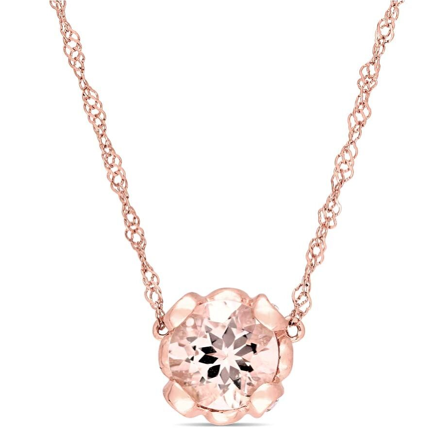Amour Morganite and White Topaz Floral Necklace in 10k Rose-Gold JMS004245