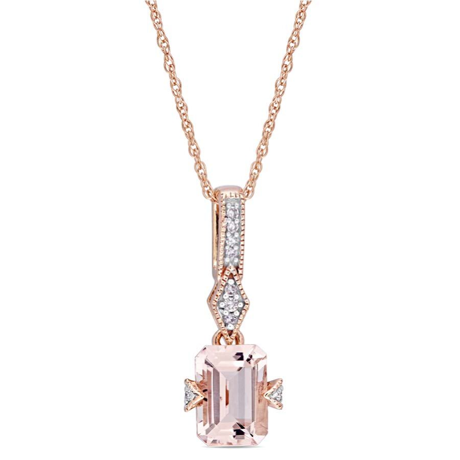 Amour Octagon-cut Morganite and Diamond Accent Drop Pendant JMS004244